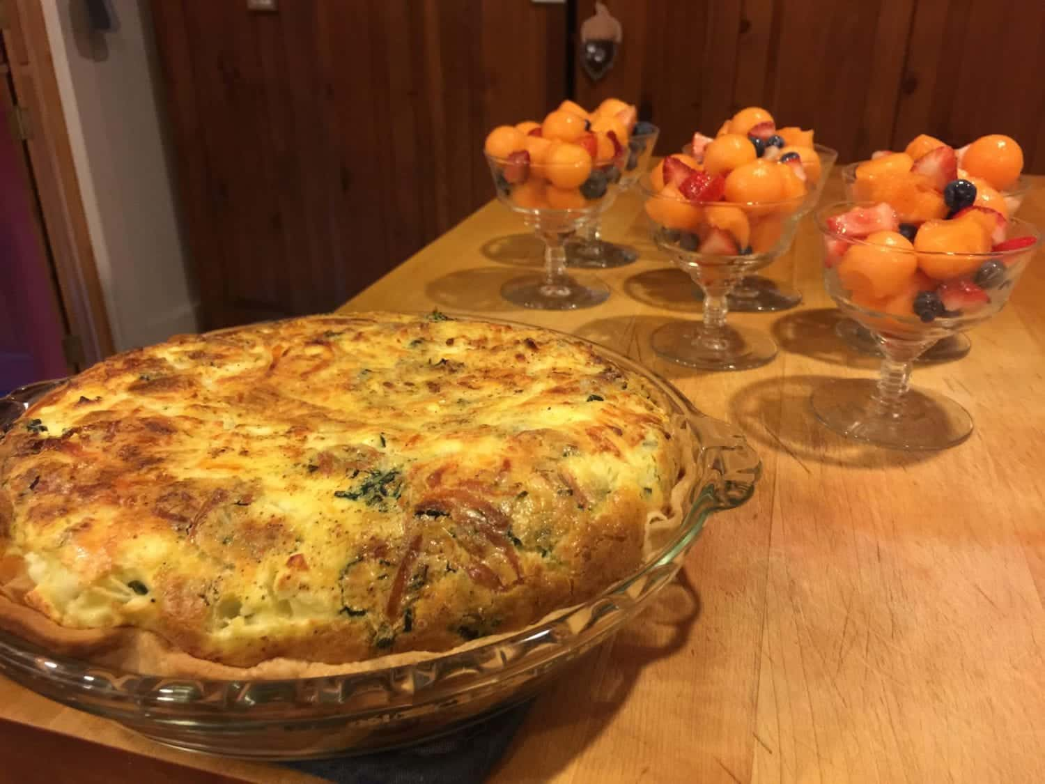Mediterranean Quiche and fruit in parfait glasses... breakfast at the 1795 Acorn Inn in Canandaigua is always included in your stay