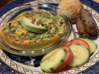 broccoli & cheddar frittata with sausage, biscuit, veggies