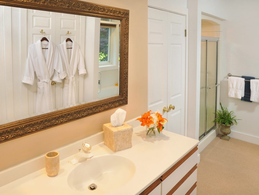 Bathroom of Bristol Suite with hanging robes reflected in mirror