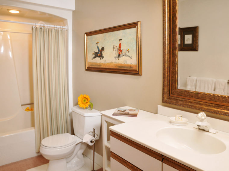 Angell Room bathroom with vanity, painting, sunflower