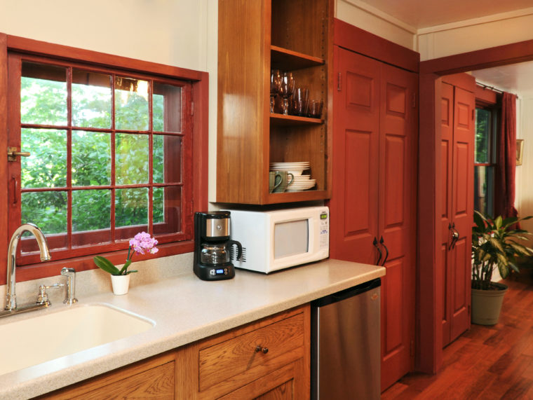 Barn Suite kitchen with sink, coffeemaker, microwave and dishwasher