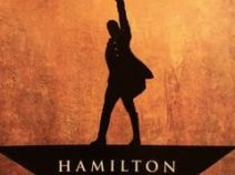 Photo of the logo for Hamilton, the play, which toured Rochester, NY