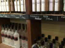 Liqueur on shelves at the Finger Lakes Distilling located on Seneca Lake within driving distance from the 1795 Acorn Inn located in Canandaigua