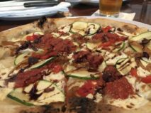 Wood fired veggie pizza and beer at Ember Woodfire Grille in the Finger Lakes