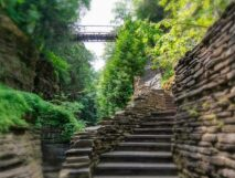 Just a few of the many steps (about 800) in Watkins Glen with bridge across and lush, green trees linking the gorge