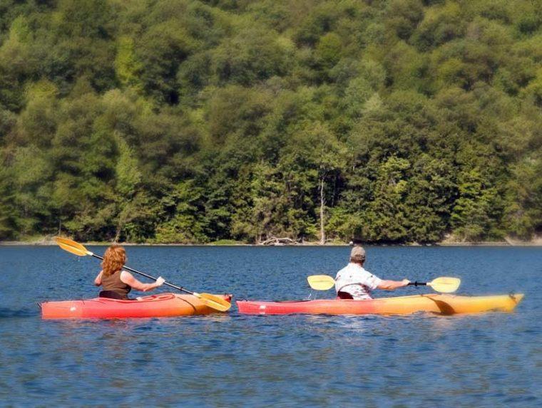 two people kayaking on Finger Lakes