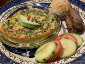 broccoli & cheddar frittata with sausage, biscuit, veggies... breakfast at the 1795 Acorn Inn in Canandaigua is always included in your stay