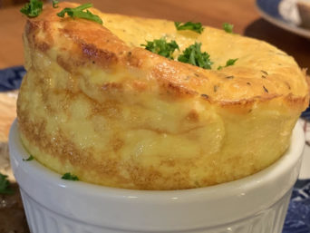 Cheesy Egg Souffle...breakfast at the 1795 Acorn Inn in Canandaigua